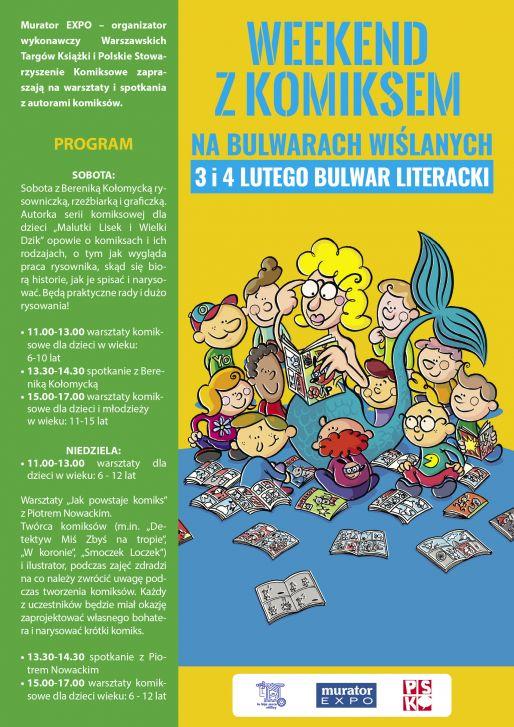 Zapraszamy na warsztaty i spotkania z autorami komiksów na Bulwarach Wiślanych, 3 i 4 lutego